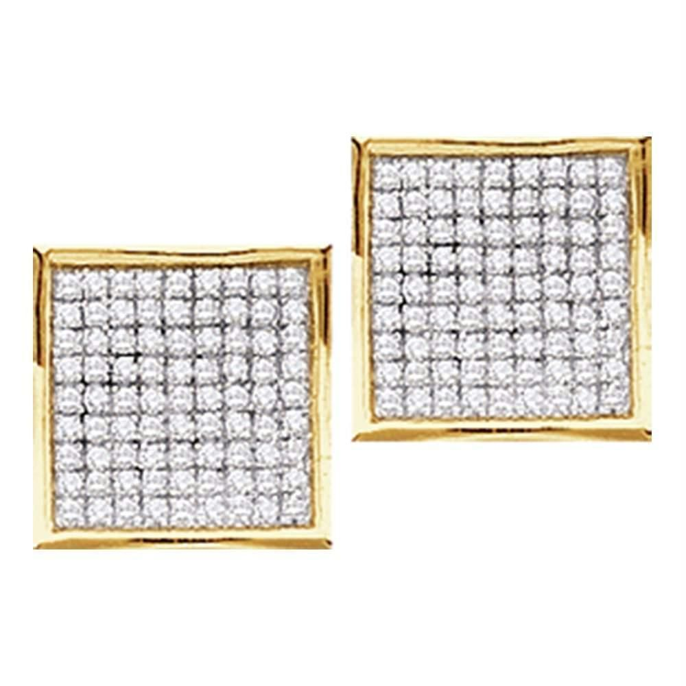 020ee4d18 10kt Yellow Gold Women's Round Diamond Square Cluster Stud Earrings 1-20  Cttw - FREE Shipping (USA/CAN)