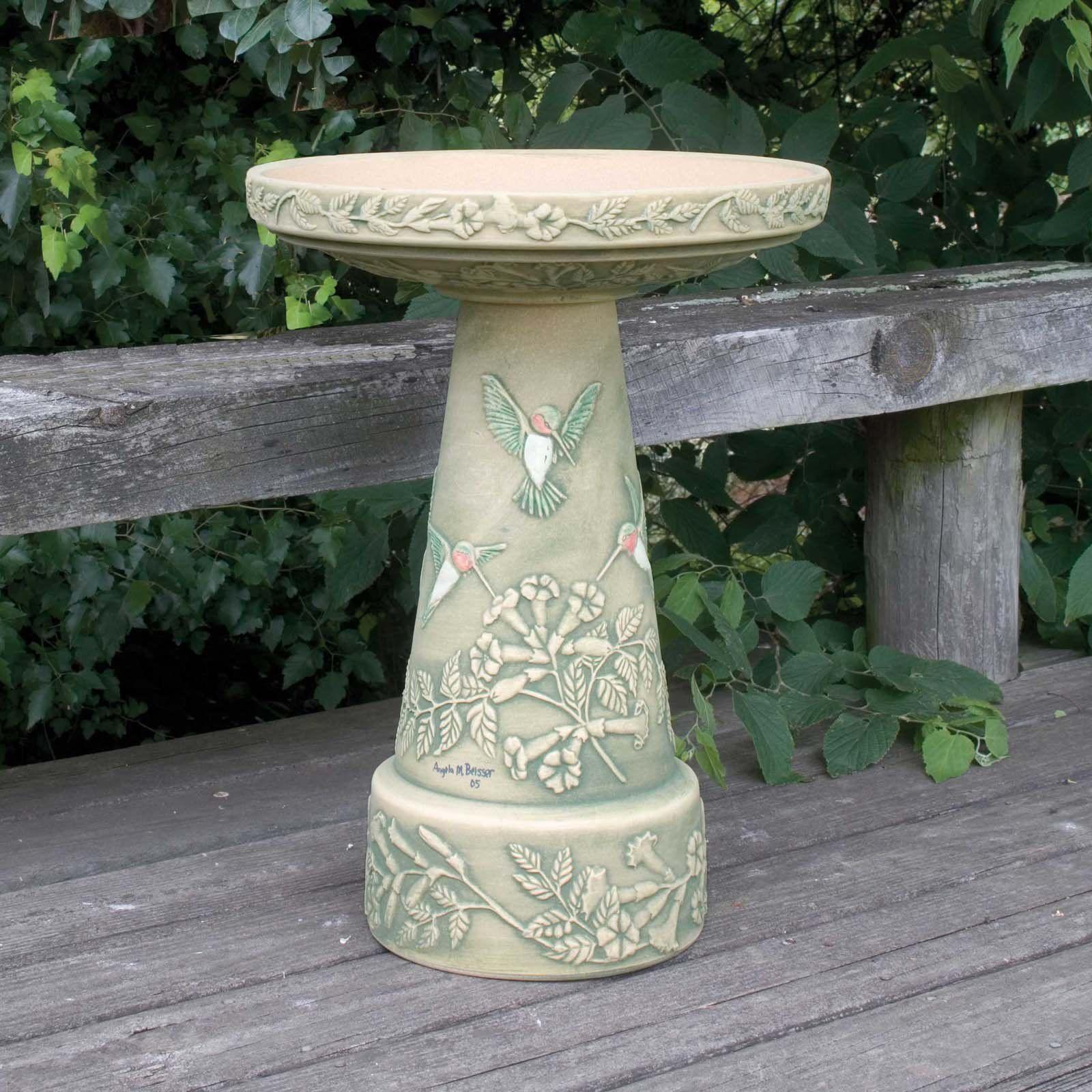 Burley Clay Hand Painted Hummingbird Ceramic Bird Bath