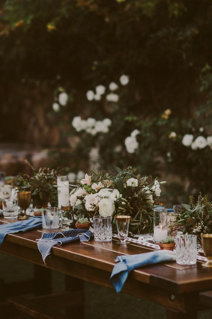 This Rancho Buena Vista Adobe Wedding Took Cues From the Spanish Countryside Lovely rustic-meets-whimsical wedding reception tablescape | image by Gantes.Co