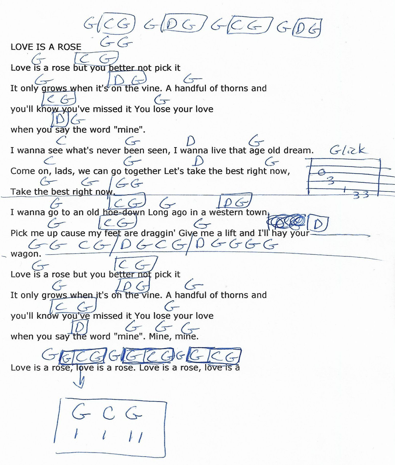Love Is A Rose Neil Young Guitar Chord Chart 2018 Guitar
