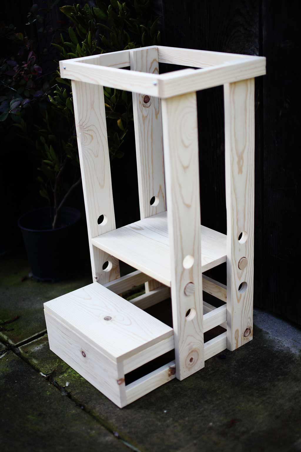 How to Build a DIY Toddler Step Stool with Guard Rail in ...
