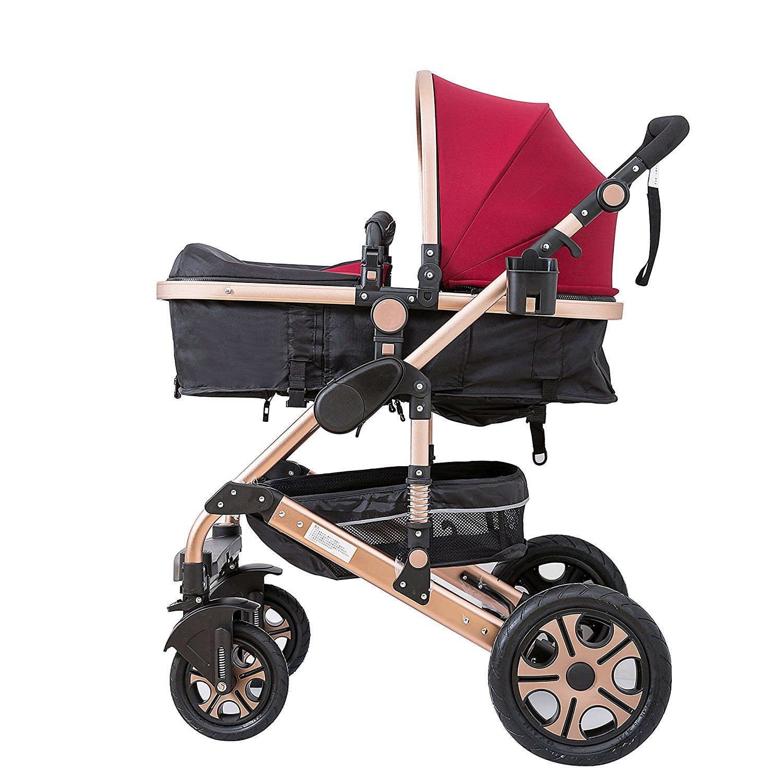 C&AHOME Adjustable Anti Shock High View Stroller Baby Carriage Pushchair Pram Burgundy