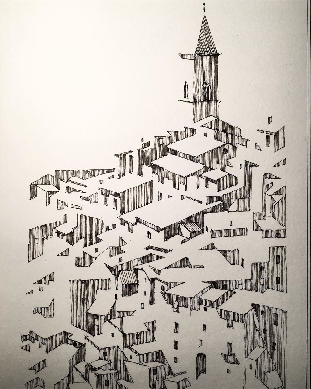 """Architecture in pen & ink on Instagram: """"Edging closer to abstraction. ✍🏼 #architecture #italy #village #citysketch #archisketcher #belltower #dailydrawing #architecturelovers…"""" - #abstraction #archisketcher #Architecture #architecturelovers #architektur #belltower #citysketch #closer #dailydrawing #Edging #ink #Instagram #italy #pen #village"""