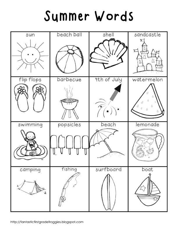 Summer+Words+BW1.jpg (612×792) | inglese | Pinterest