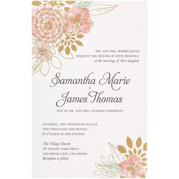Pink Mint Floral Wedding Invitations In 2019