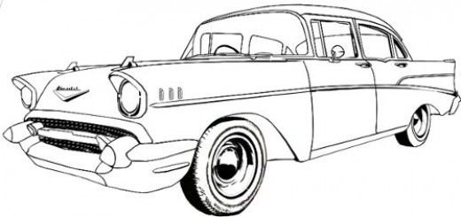 Old Car Line Drawing Chevy S 55 57 Pinterest Drawings Car