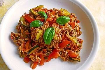 Mediterrane Zucchini - Reis - Pfanne mit Feta  - Kochrezepte -