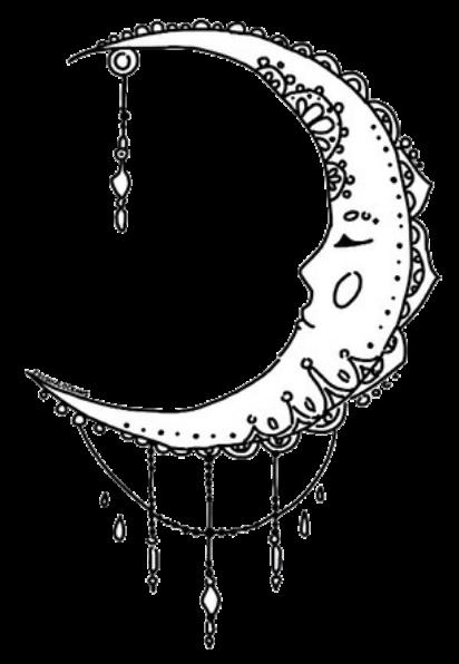 Transparents Henna moon design, Cute tattoos