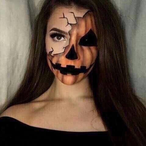 Caras Pintadas De Halloween Para Mujer Hermosa Cara De Mujer - Cara-pintada-para-halloween