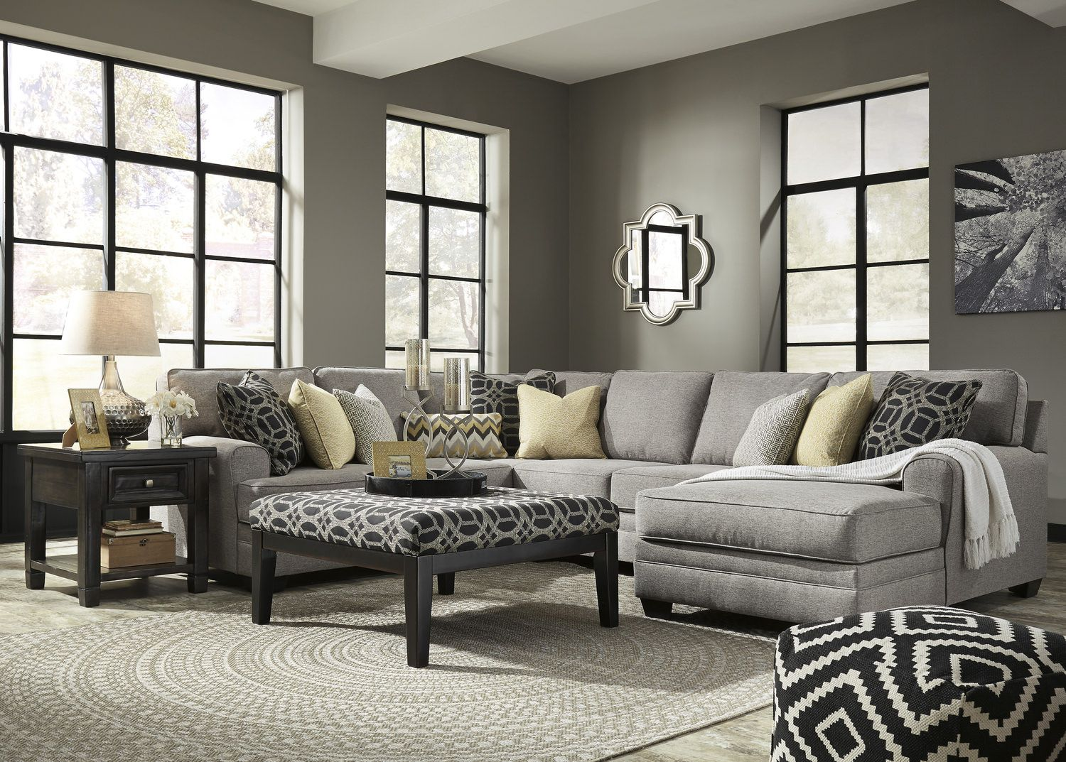 Best City 4 Piece Modular Sectional Living Room Grey Living 400 x 300
