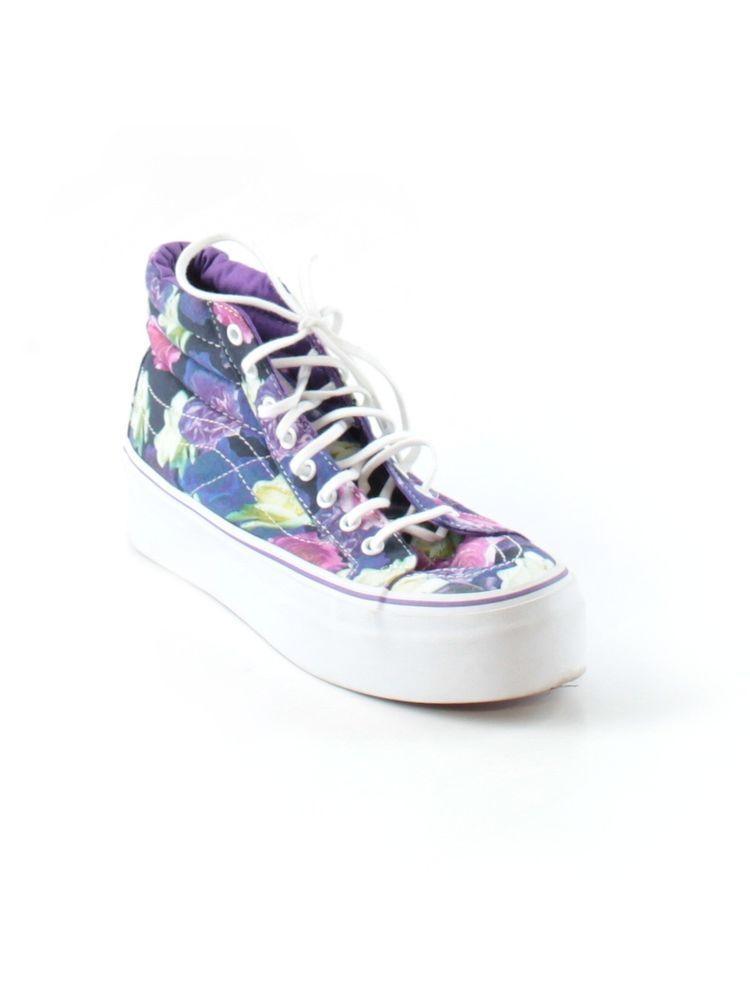 2f0e1a2730 Men Women Vans Purple Roses Sk8 Hi Platform Trainers Skate Shoe Size M 7 W  8.5