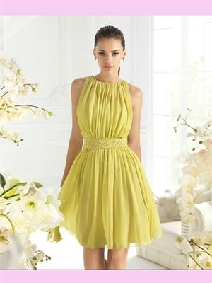 Yellow Short Beading Chiffon 2014 Homecoming Dresses Prom Gowns APR190077