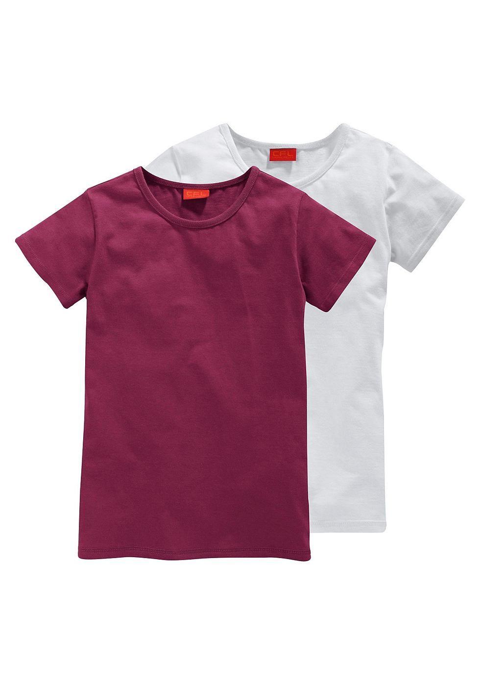 Produkttyp , T-Shirt, |Qualitätshinweise , Hautfreundlich Schadstoffgeprüft, |Materialzusammensetzung , Obermaterial: 100% Baumwolle (unterstützt Cotton made in Africa), |Material , Baumwolle, |Farbe , Bordeaux-rot-Weiß, |Passform , taillierte Form, |Schnittform/Länge , hüftlang, |Ausschnitt , Rundhals, Kante eingefasst, |Ärmelstil , Kurzarm, |Armabschluss , Kante abgesteppt, |Saumabschluss , K...