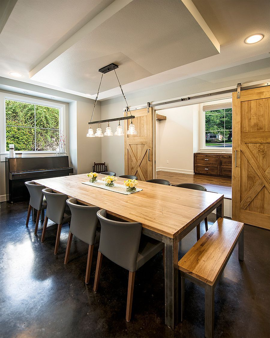 25 Awesome Traditional Dining Design Ideas: 25 Diverse Dining Rooms With Sliding Barn Doors