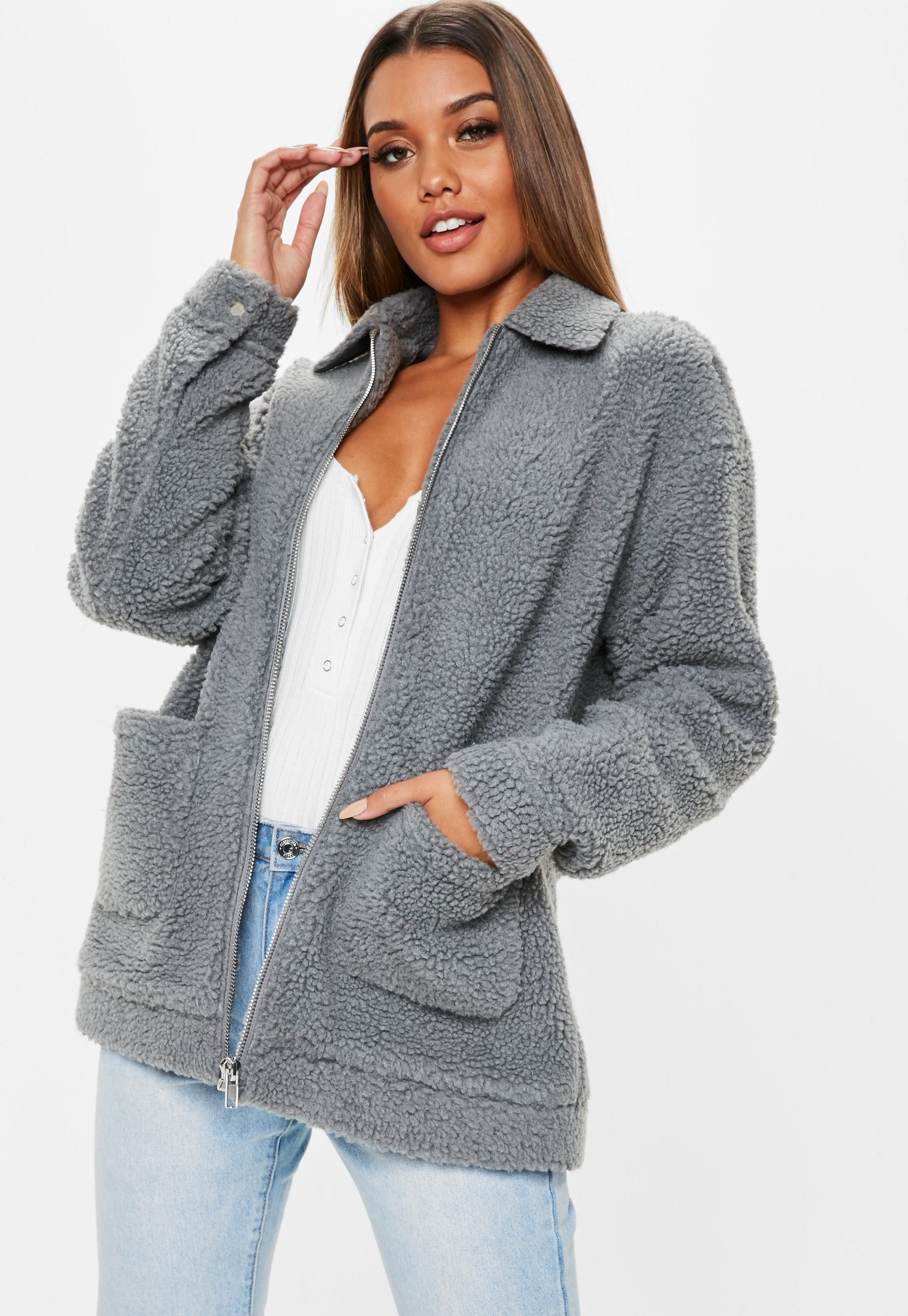 Gray Oversized Zip Through Jacket Missguided (With