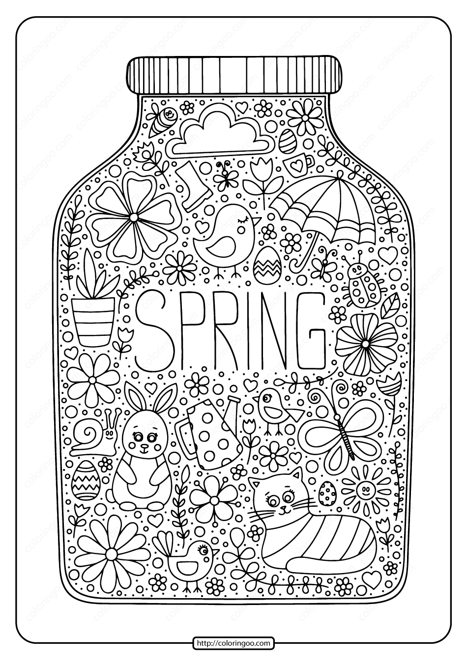 Printable Spring In A Jar Pdf Coloring Page Ajandalar Desenler Cizimler