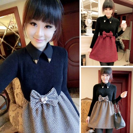 2013 winter fashion metal sweet small lapel big bow patchwork long-sleeve dress