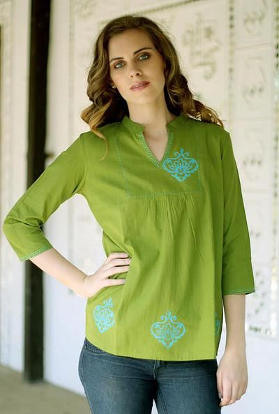 India Tunic Top Kurti Womens Embroidered Cotton Indian Apparel (Black, S)