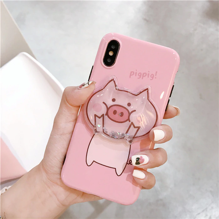 Cute cartoon pig quicksand Squishy phone Cases for iphone