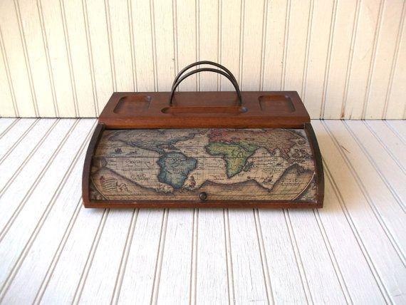 Vintage old world map wooden desk organizer and letter holder vintage old world map wooden desk organizer and letter holder gumiabroncs Gallery