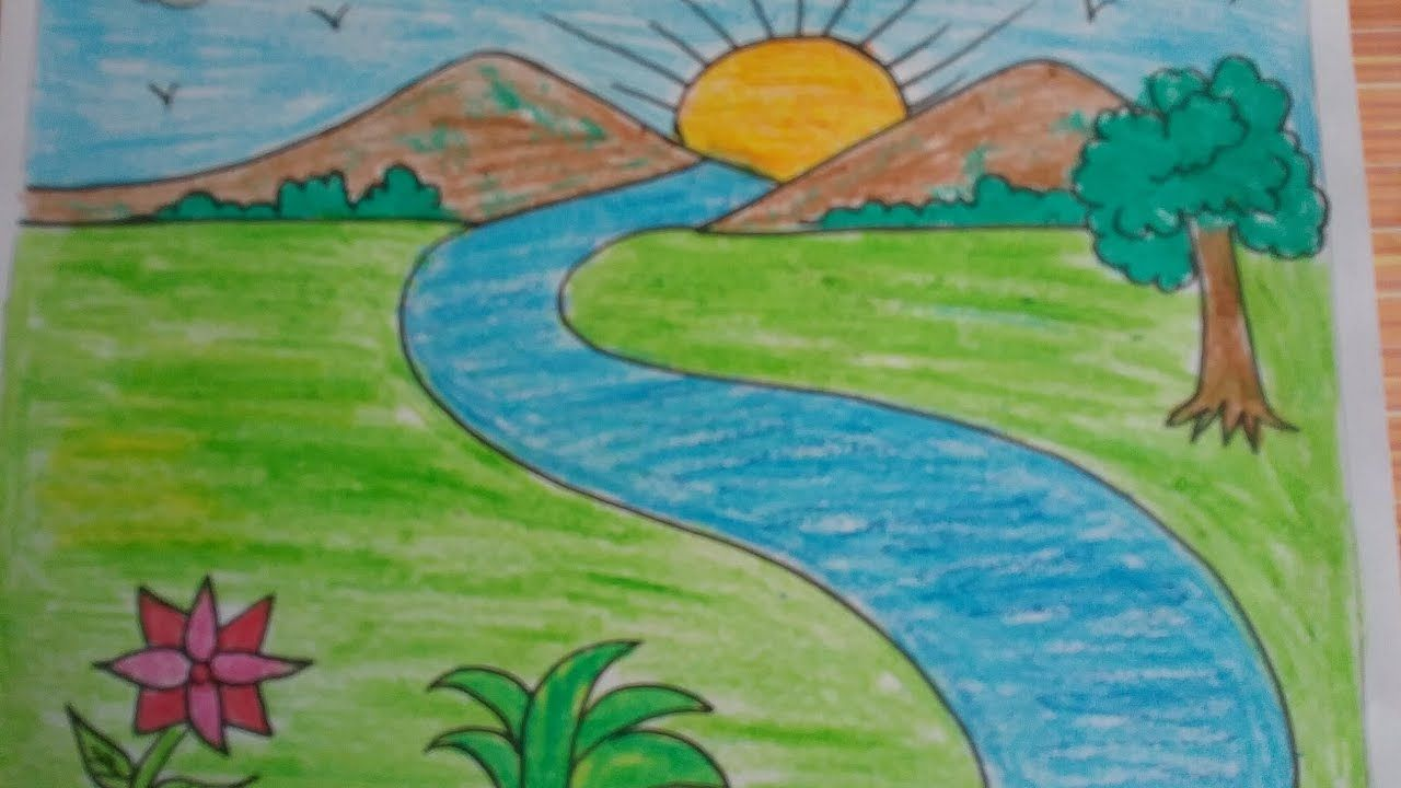 Nature Pictures Easy To Draw Nature Drawing Color Easy For Kids How Nature Pictures Easy To Draw Natu Easy Nature Drawings Nature Drawing Simple Nature Drawing