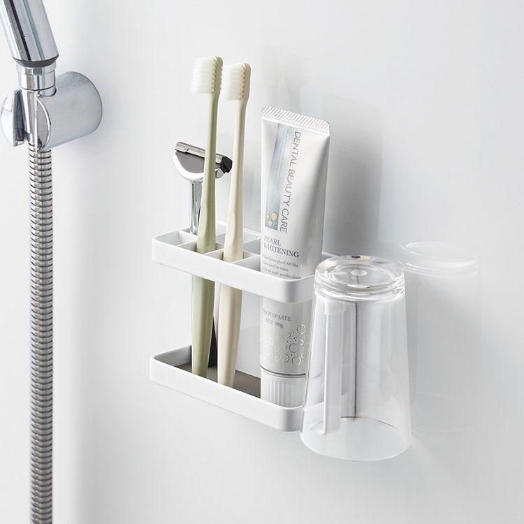 マグネットが付く浴室壁面に簡単取り付けの歯ブラシスタンド 山崎