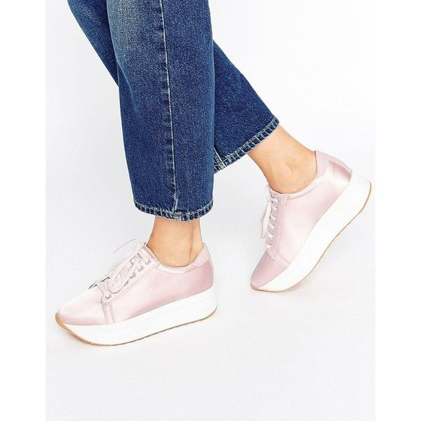 bcba4d4f3ad Vagabond Casey Pink Satin Flatform Sneakers ( 105) ❤ liked on Polyvore  featuring shoes