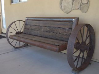 Custom Rustic Antique Steel Wagon Wheel Bench Wagon Wheel Bench Antiqued Steel Wagon Wheel