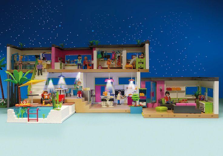 Maison moderne playmobil- la maison pendant la nuit.- Maison