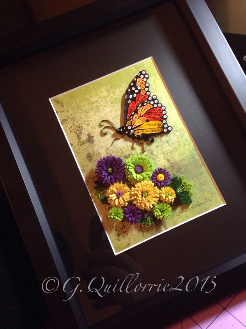 Quilling Monarch Butterfly and flowers