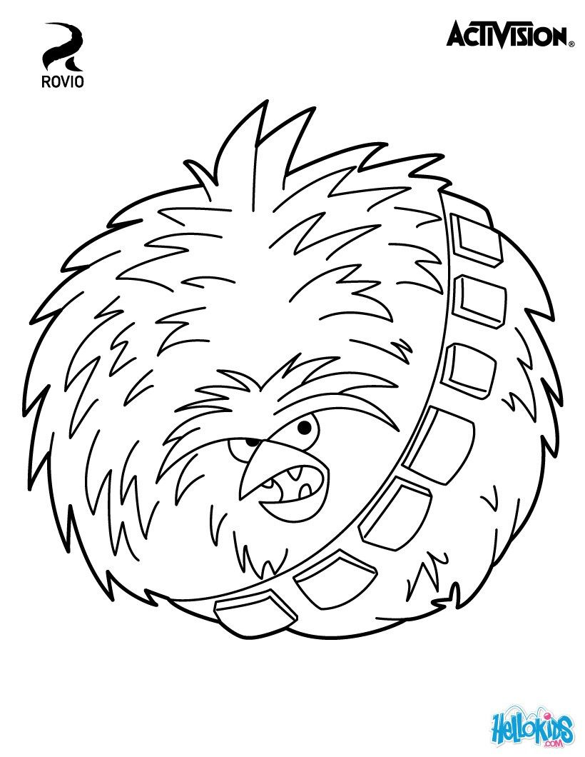 The Big Brother Bird Terence Is Chewbacca In Angry Birds Star Wars Cute Coloring Page