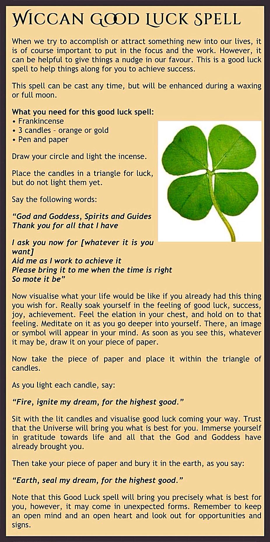 Good luck spell | Blessed  | Luck spells, Good luck spells