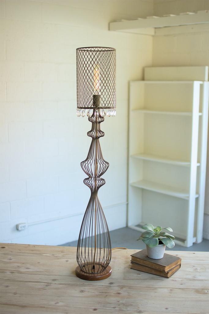 Kalalou Wire Table Lamp W Metal Mesh Shade Hanging Gems Wire Table Lamp Table Lamp