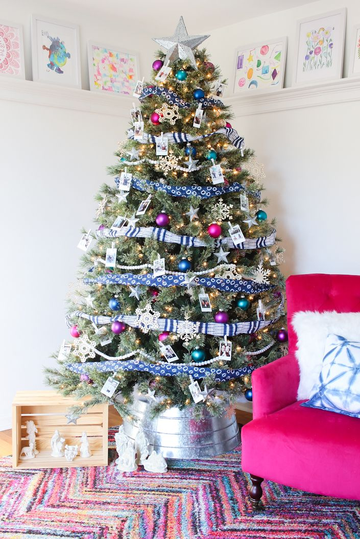 How To Decorate A Colorful Eclectic Family Photo Christmas Tree Michaelsmakers Dream Tree Chal Photo Christmas Tree Christmas Tree Inspiration Christmas Tree