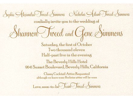 Gene Simmons Shannon Tweed To Marry On Oct 1 Wedding Invitation Wording Invitation Wording Invitations