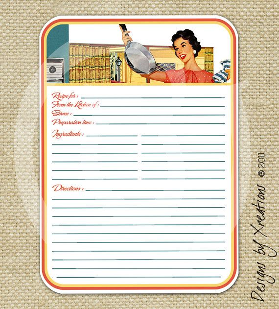 Retro Blank Recipe Card Digital Template 5x7 By Pinkpapertrail Recipe Cards Template Printable Recipe Cards Recipe Cards
