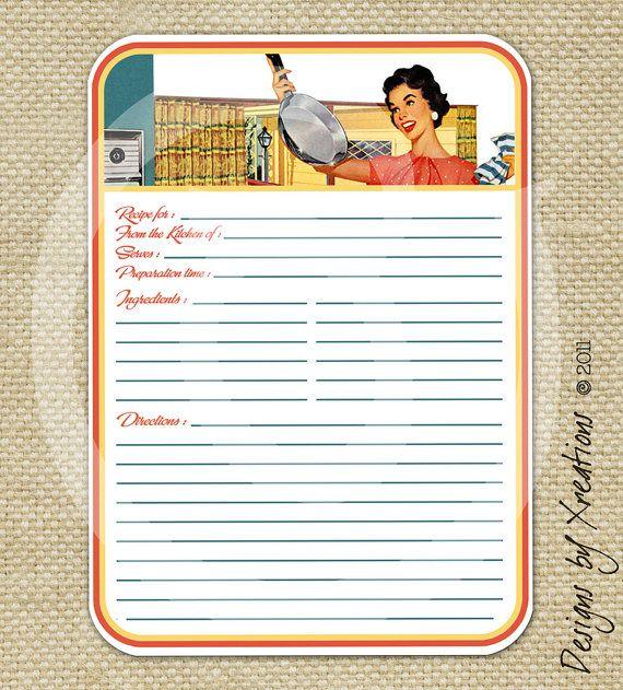 Retro Blank Recipe Card, Digital Template, 5x7 inches ...