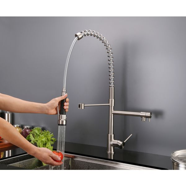 Ruvati 28 Inch Stainless Steel Commercial Style Pre Rinse Spray Kitchen Faucet