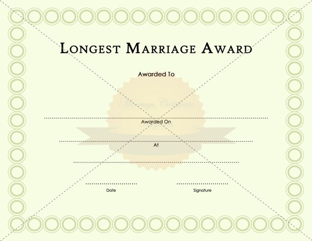 Longest Happy Marriage Award Certificate Template