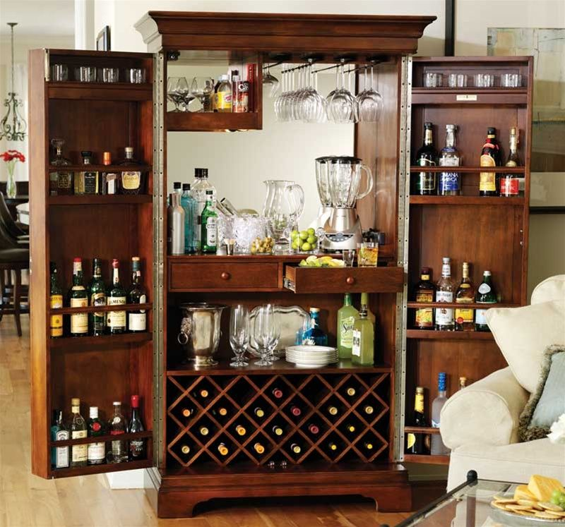 Howard miller sonoma in americana cherry home bar armoire liquor cabinet 695 064 ice box Home wine bar furniture