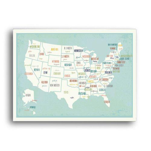 Playroom ideas- Found it at Wayfair - Children's USA Map Paper Print