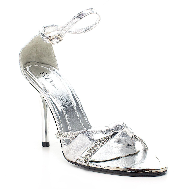 Elegent Silver Strap Bow Diamante Heel
