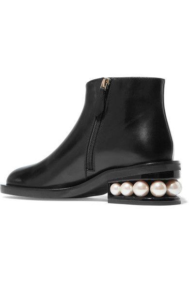 Nicholas Kirkwood - Casati Faux Pearl-embellished Leather Boots - Black - IT39.5