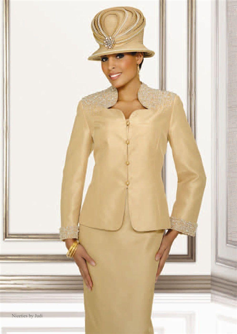 Chancelle 18114 Womens Gold Church Dress Skirt Jacket 3 Pc Suit