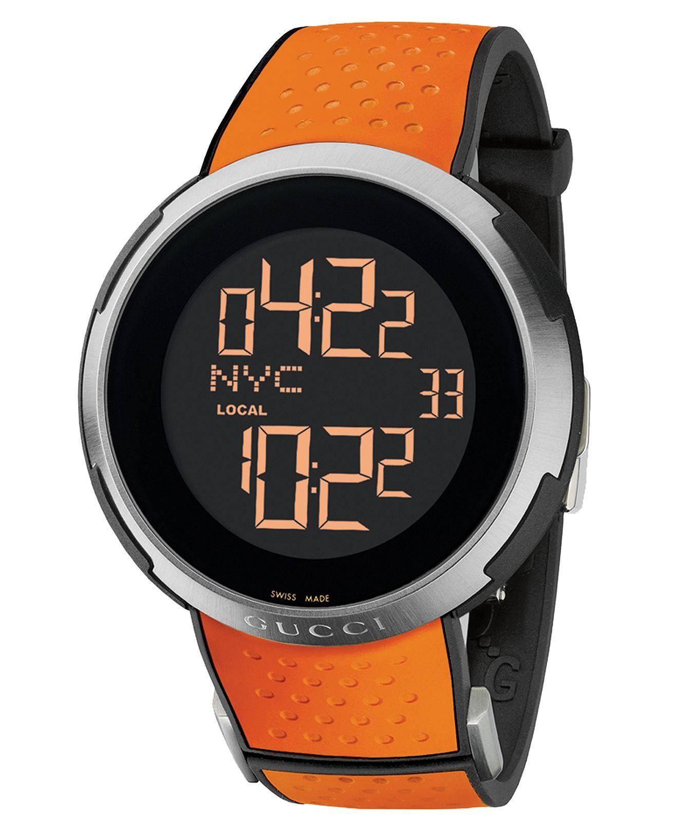 Gucci Watch, Men's Swiss Digital IGucci Orange Perforated