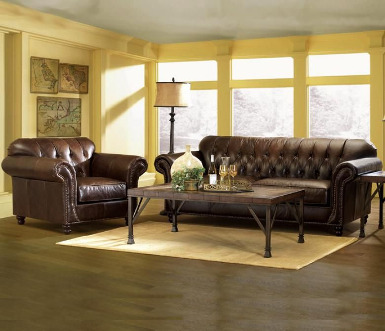 The Livermore Leather Sofa Set: Got The Loveseat, Chair And Ottoman!