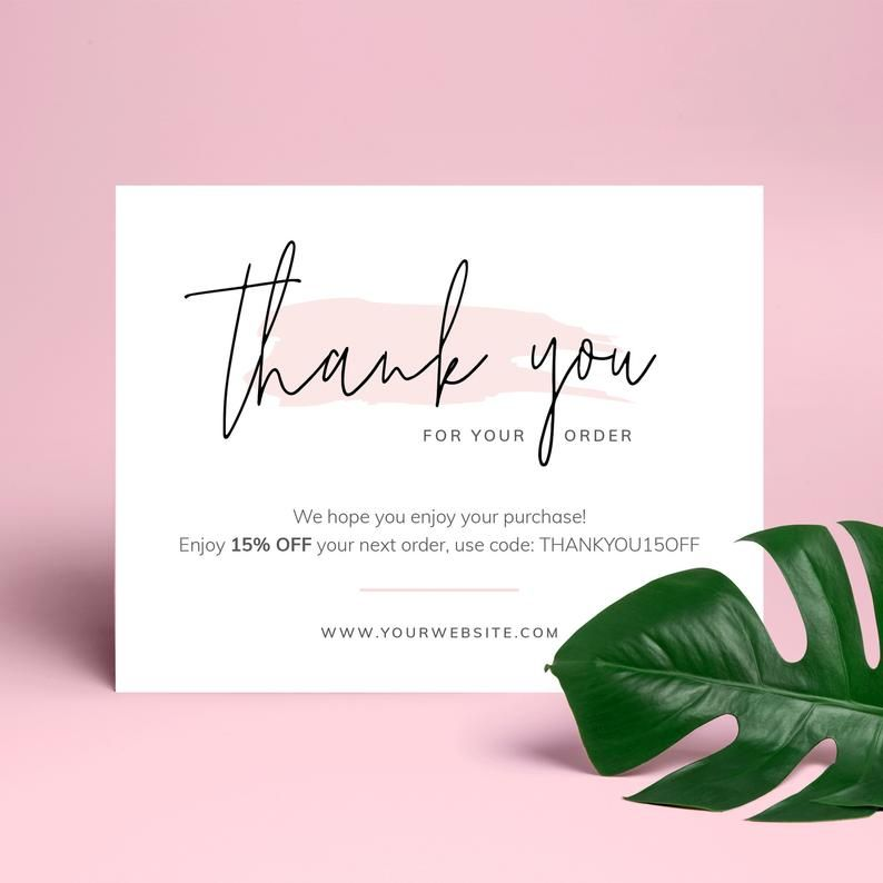 Business Thank You Card Template Editable Thank You For Order Etsy Thank You Card Design Thank You Card Template Business Thank You Cards