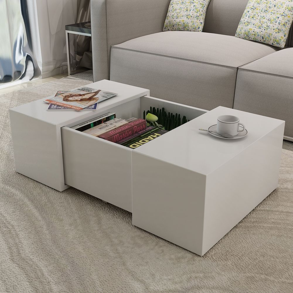 Made Of High Quality Mdf With A High Gloss Finish Thewhite Coffee Table High Gloss Is Easy To Clean With A Damp Cloth It Can Als Dekor Mobilya Ev Dekorasyonu [ 1000 x 1000 Pixel ]