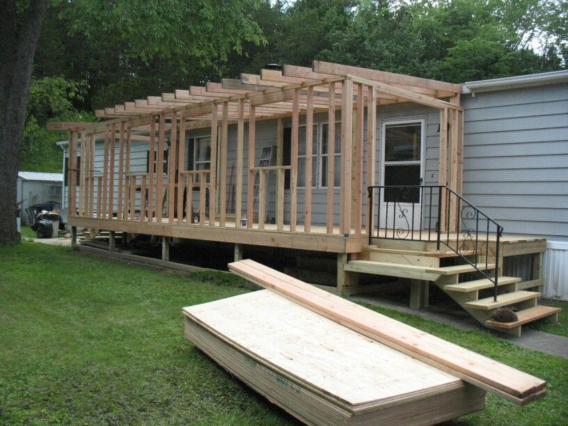 Mobile home sunroom during work i have done for Screen room addition plans