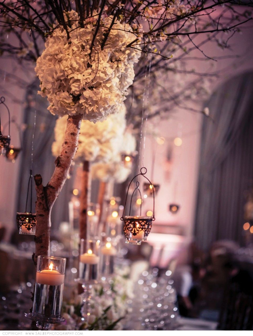 Tiny lanterns hanging from tree centrepieces had this @Mandy Bryant ...